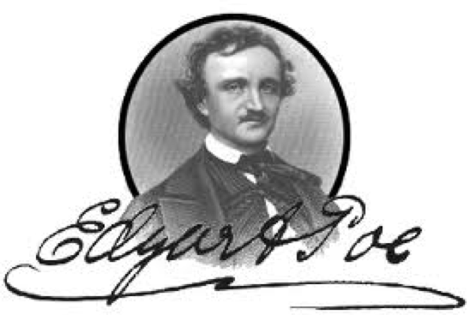 Edgar Allen Poe portrait and signature
