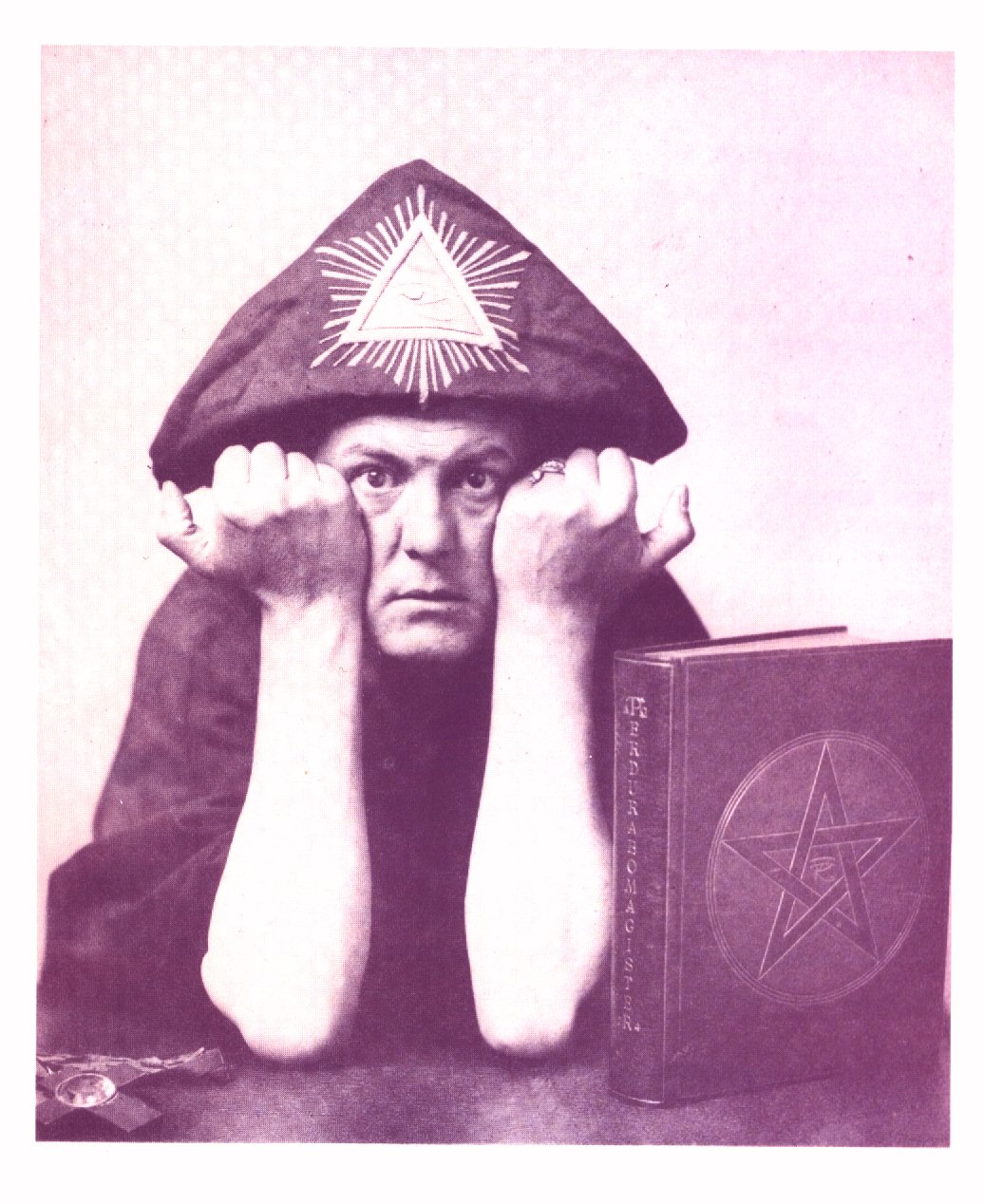 "The colotype of Crowley from EQUINOX I, 3, just before page 11, titled underneath ""ALEISTER CROWLEY"""