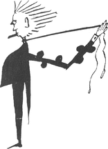 Senor Mañana strangling himself in Aleister Crowley's Vanity Fair's Prize Movie Scenario