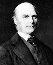 "Francis Galton (1822-1911), a respected social scientist who originated eugenics, a philosophy that aims to use selective breeding to ""advance the race."""