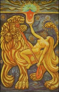 Lust from AC's Thoth Tarot. While Nuit and Hadit represent the ideals of mystic Love, Babalon—the Scarlet Woman who rides the Beast and carries aloft her Holy Graal—is the ideal of sexual ecstasy.