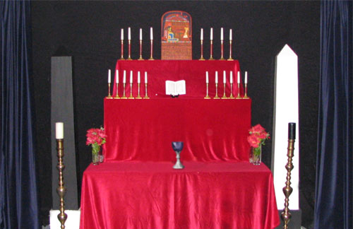 A typical High Altar for the Gnostic Mass.