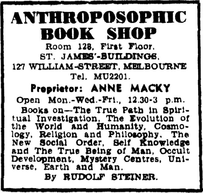 Anthroposophic Books Shop Melbourne ad, Anne Macky proprietor