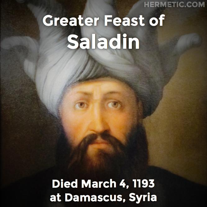 Saladin, An-Nasir Salah ad-Din Yusuf ibn Ayyub, Salah ad-Din, in Hermeneuticon at Hermetic Library