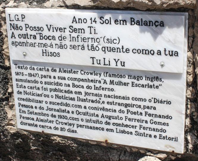 Plaque at Boca do Inferno