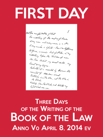 First Day of the Three Days of the Writing of the Book of the Law