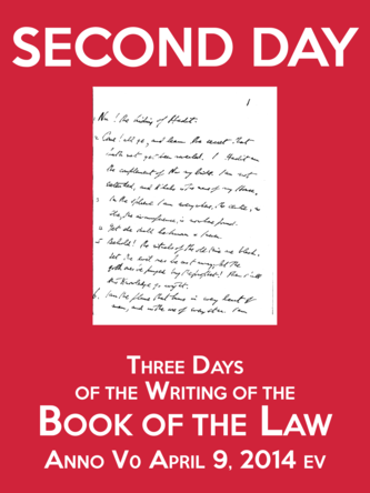 Second Day of the Three Days of the Writing of the Book of the Law