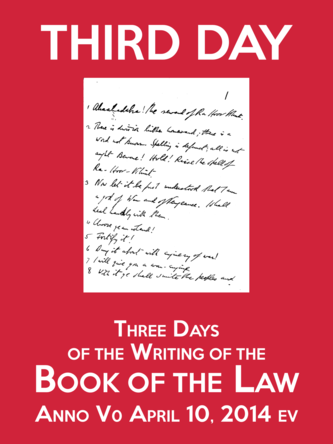 Third Day of the Three Days of the Writing of the Book of the Law