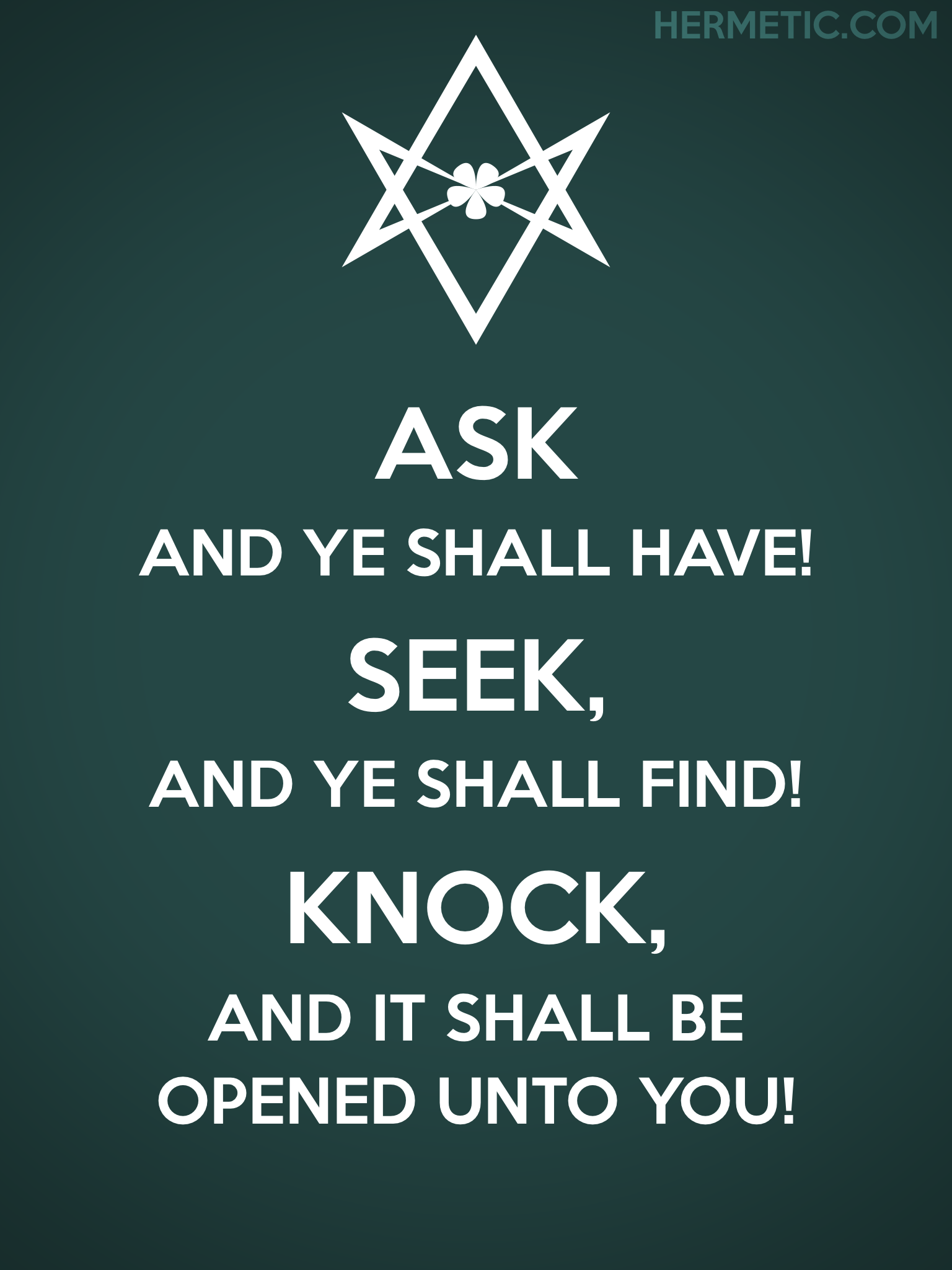 Unicursal ASK SEEK KNOCK Propaganda Poster from Hermetic Library Office of the Ministry of Information