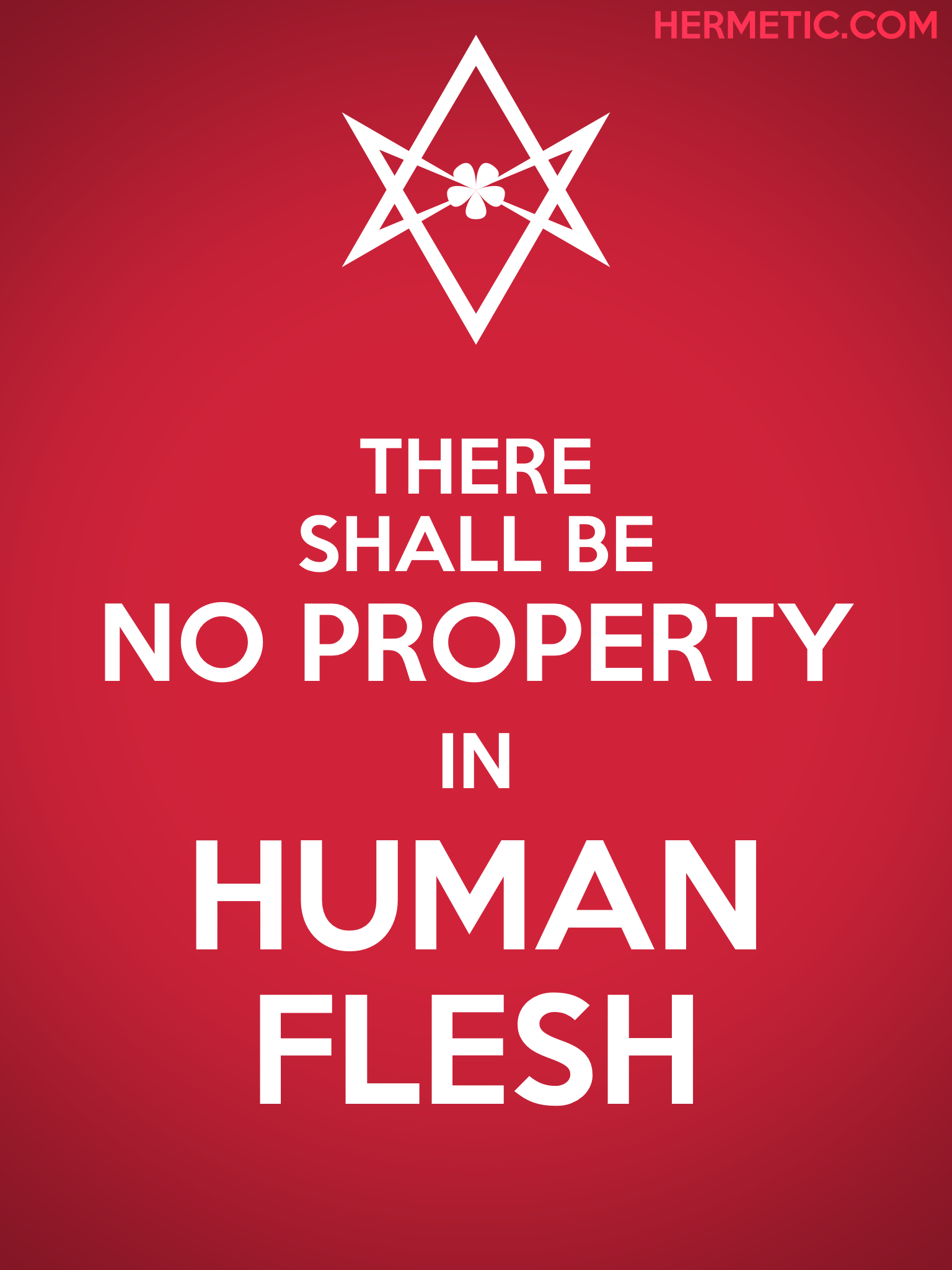 Unicursal HUMAN FLESH Propaganda Poster from  Hermetic Library Office of the Ministry of Information