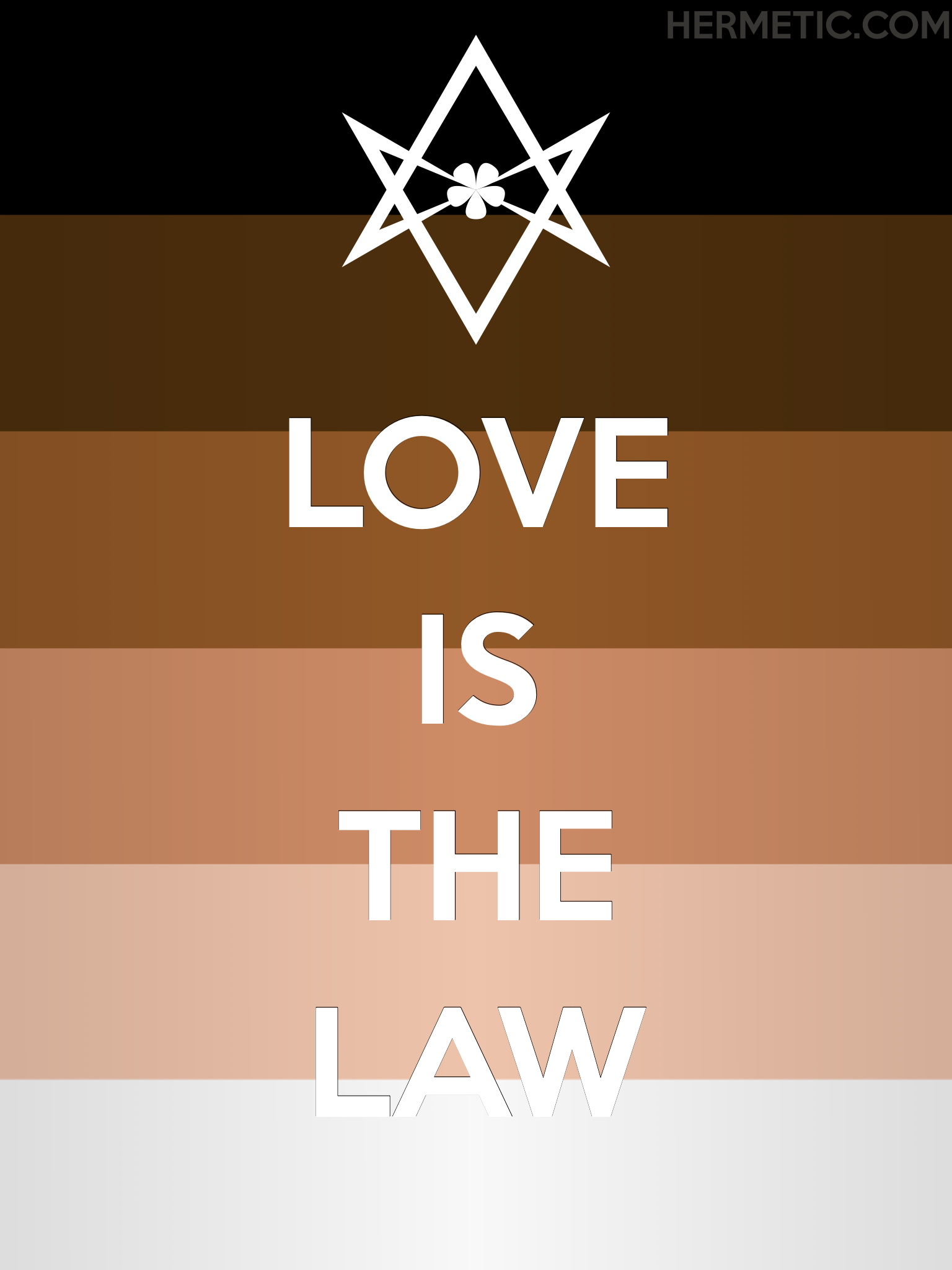 Unicursal LOVE IS THE LAW black lives matter propaganda poster from the Office of the Ministry of Information at Hermetic Library