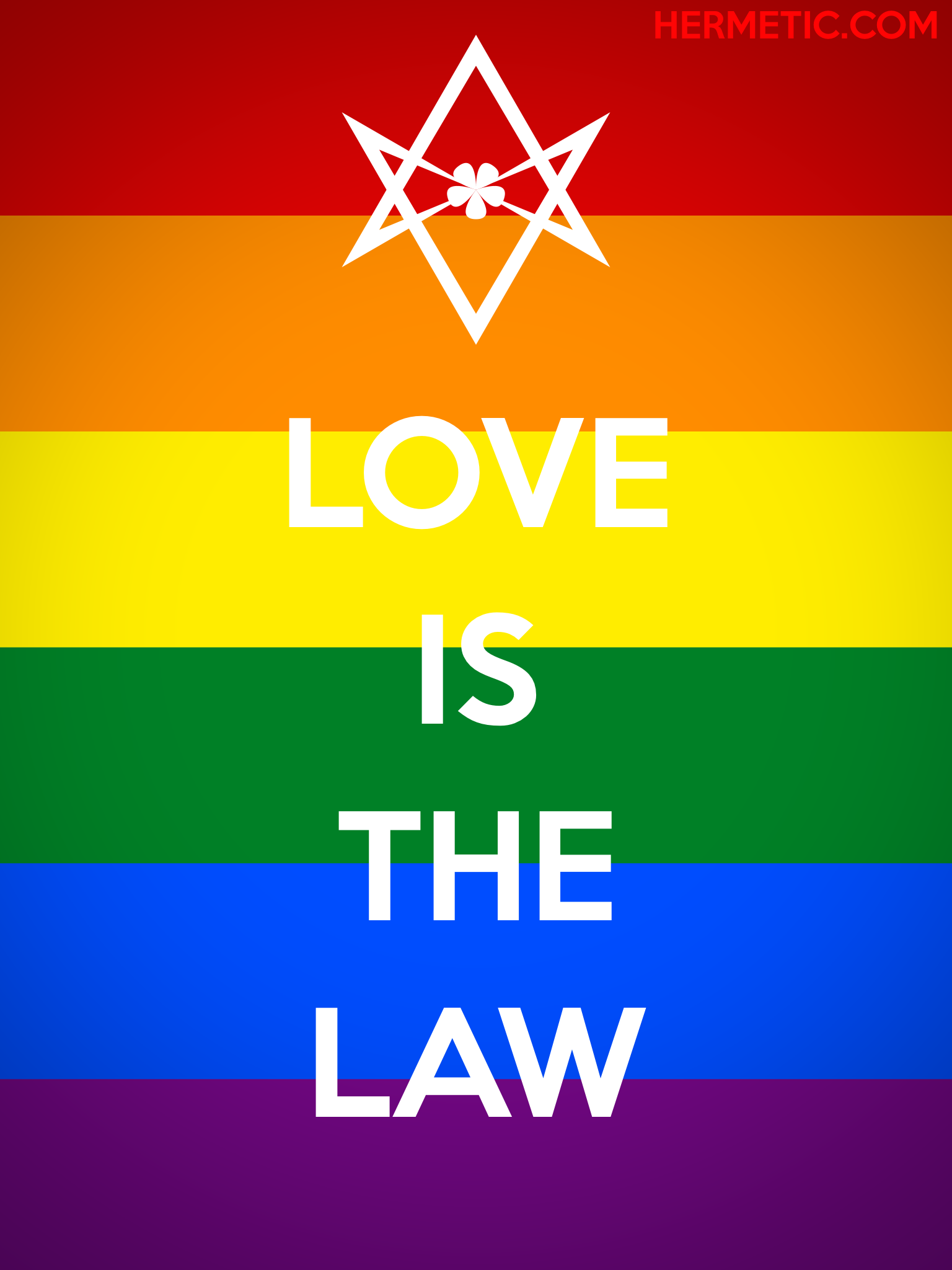 Unicursal LOVE IS THE LAW rainbow propaganda poster from the Office of the Ministry of Information at Hermetic Library