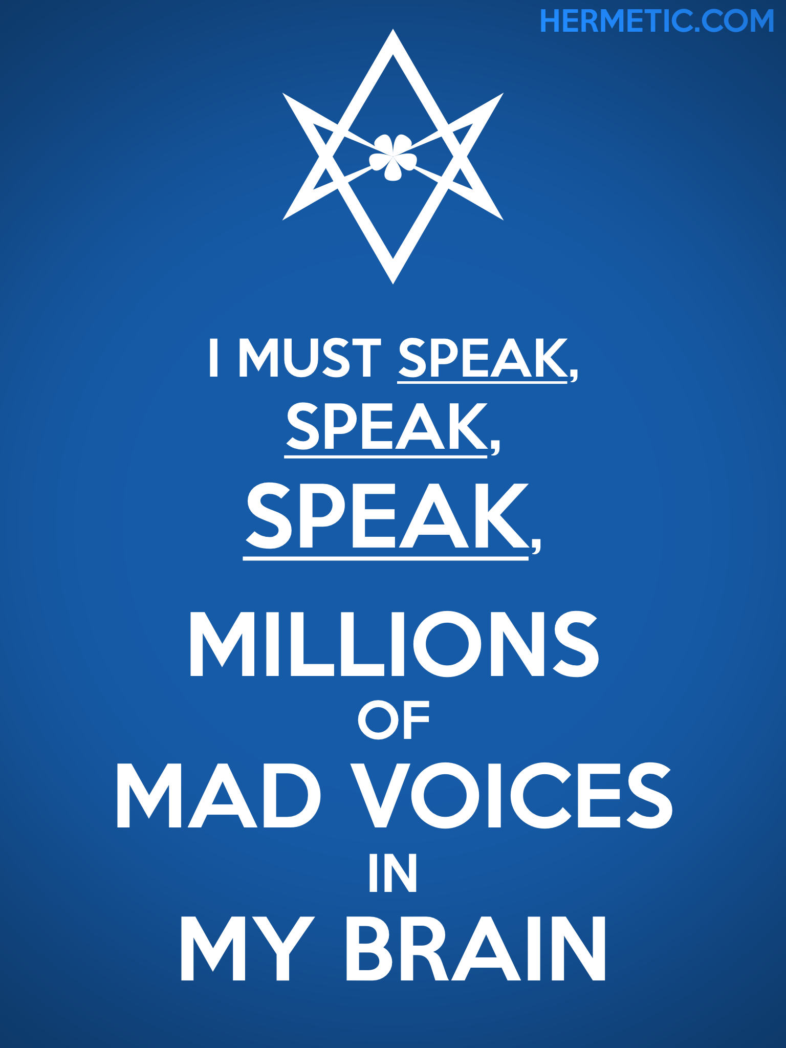 Unicursal MILLIONS OF MAD VOICES Propaganda Poster from Hermetic Library Office of the Ministry of Information