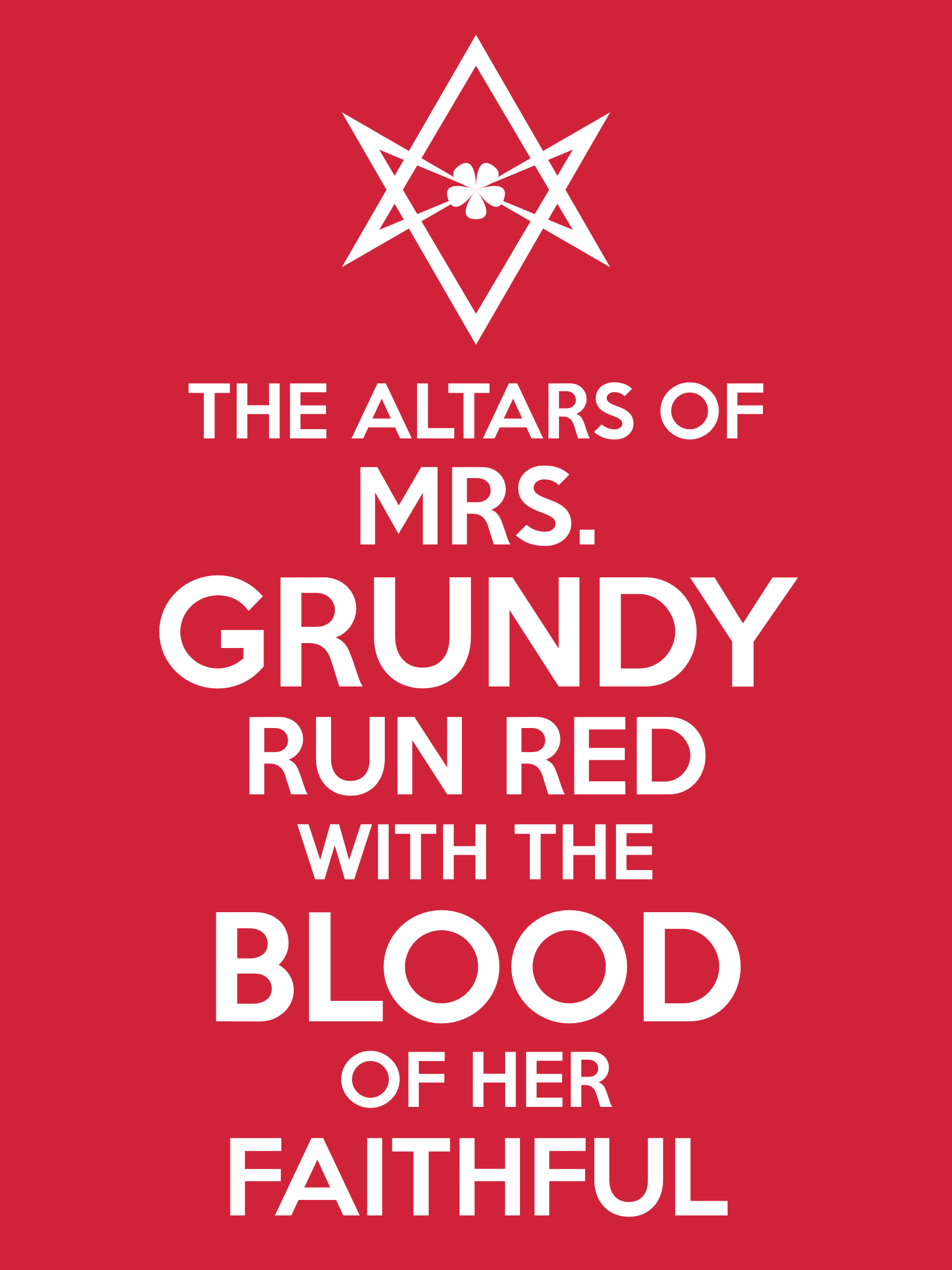 Unicursal MRS GRUNDY Propaganda Poster from Hermetic Library Ministry of Information