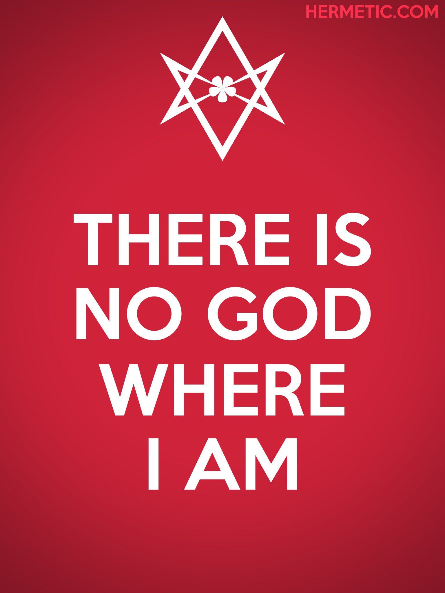 Unicursal NO GOD WHERE I AM Propaganda Poster from Hermetic Library Office of the Ministry of Information