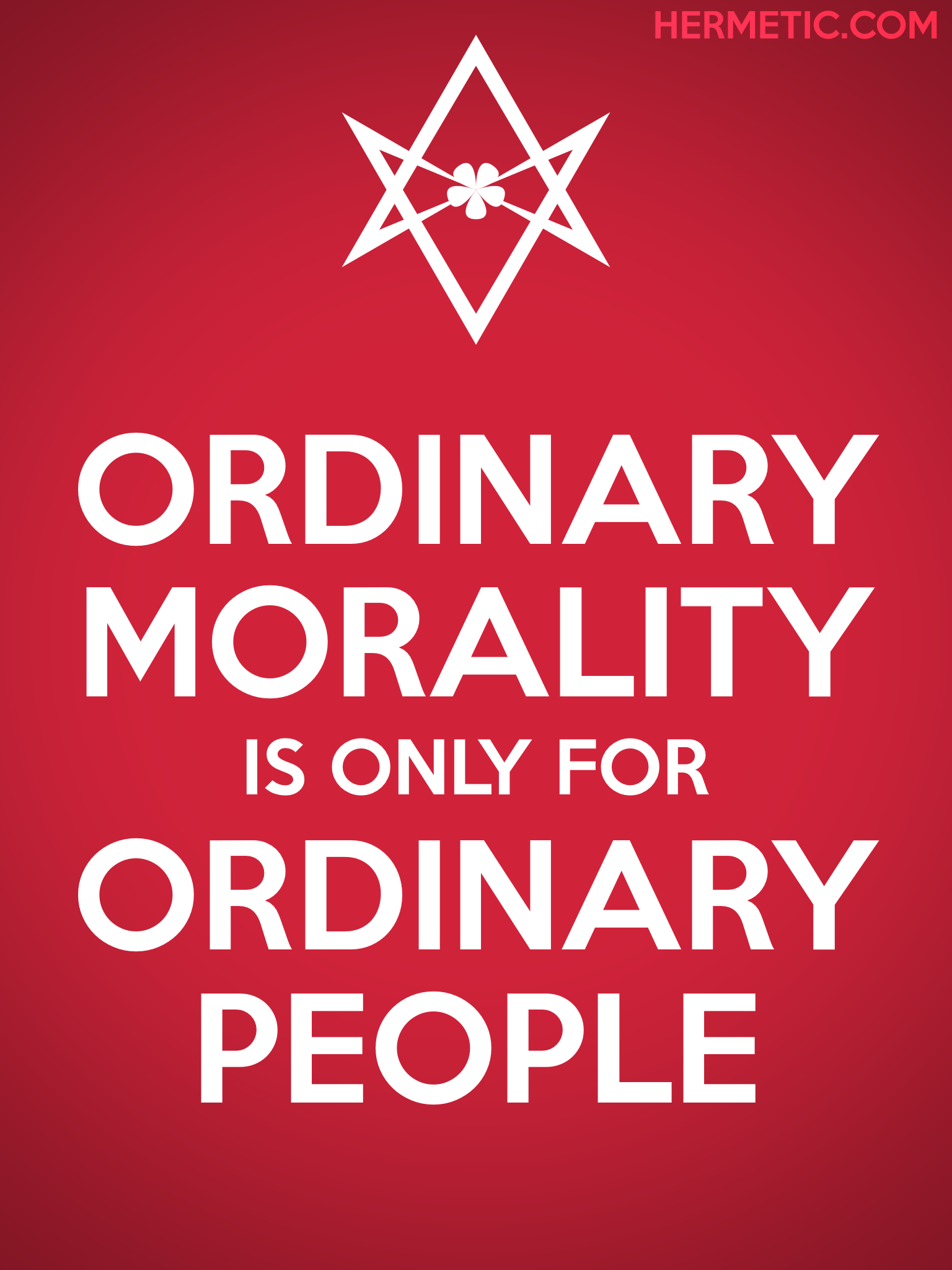 Unicursal ORDINARY MORALITY Propaganda Poster from Hermetic Library Office of the Ministry of Information