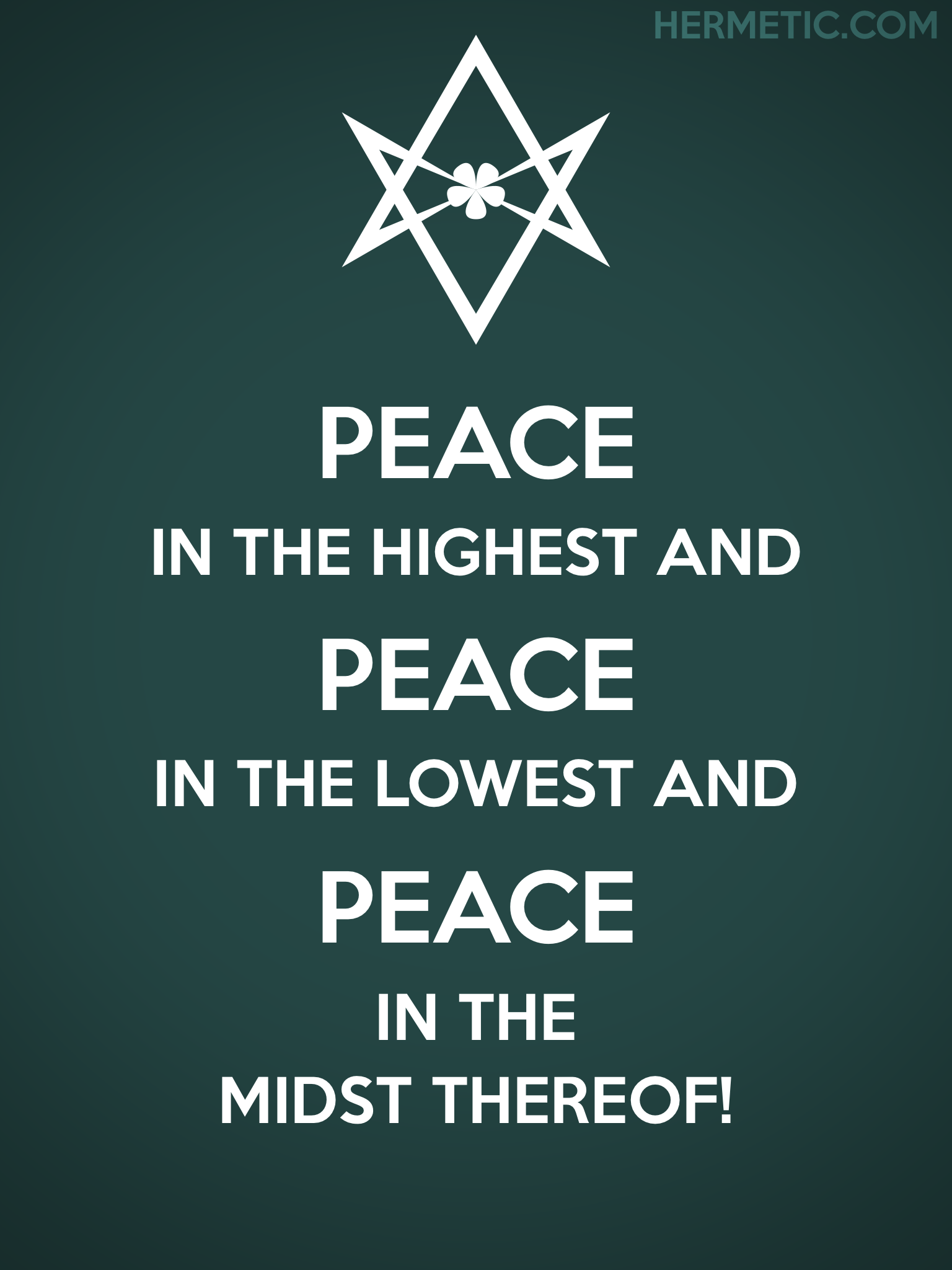 Unicursal PEACE PEACE PEACE Propaganda Poster from Hermetic Library Office of the Ministry of Information