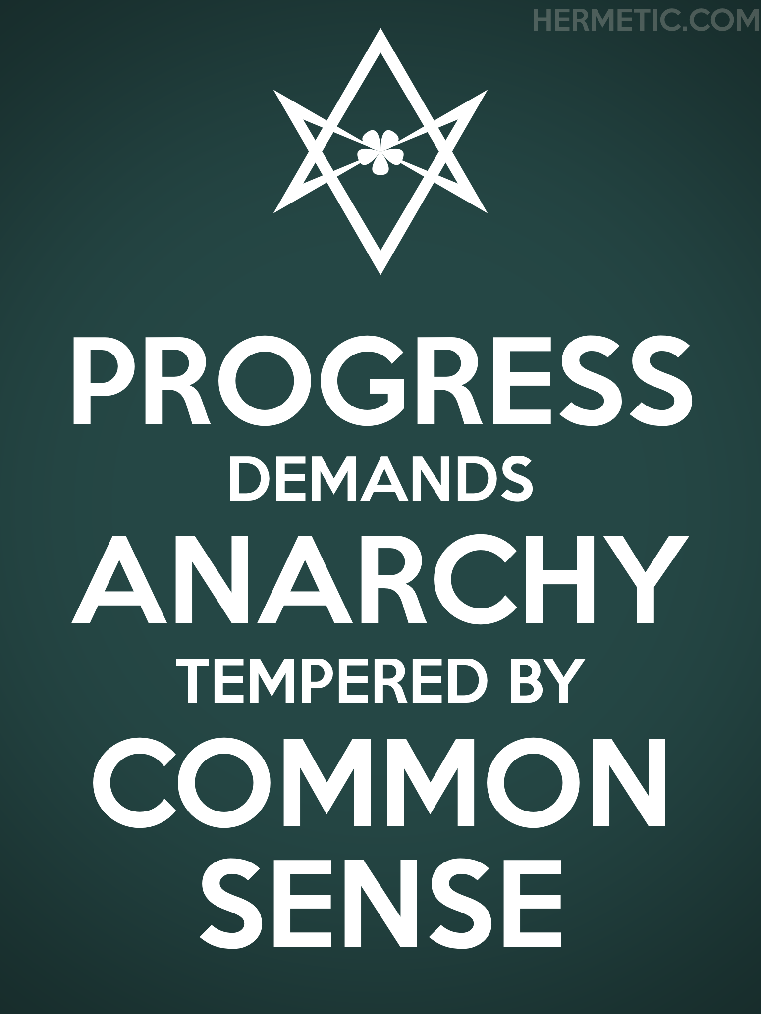 Unicursal PROGRESS ANARCHY COMMON SENSE Propaganda Poster from Hermetic Library Office of the Ministry of Information