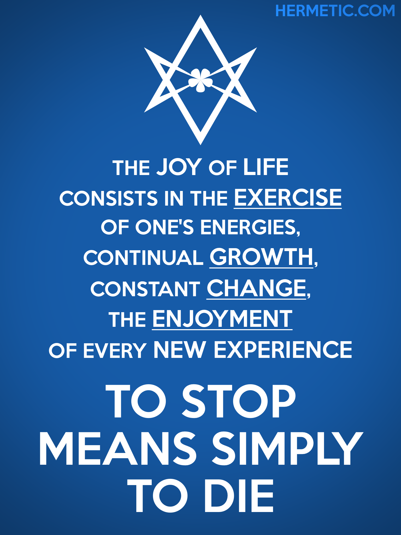Unicursal THE JOY OF LIFE Propaganda Poster from Hermetic Library Office of the Ministry of Information