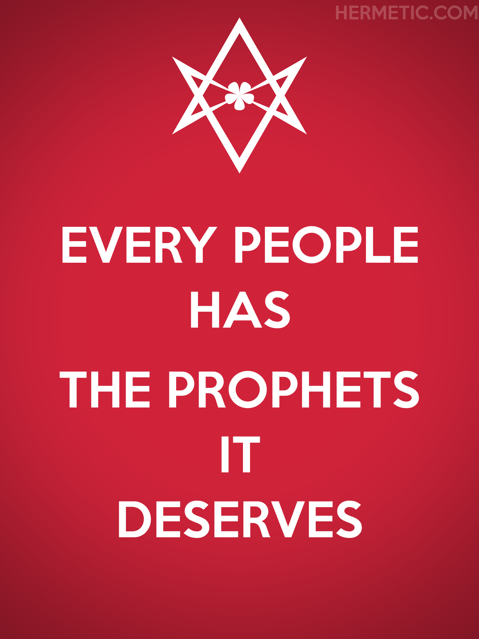 Unicursal THE PROPHETS IT DESERVES Propaganda Poster from Hermetic Library Office of the Ministry of Information