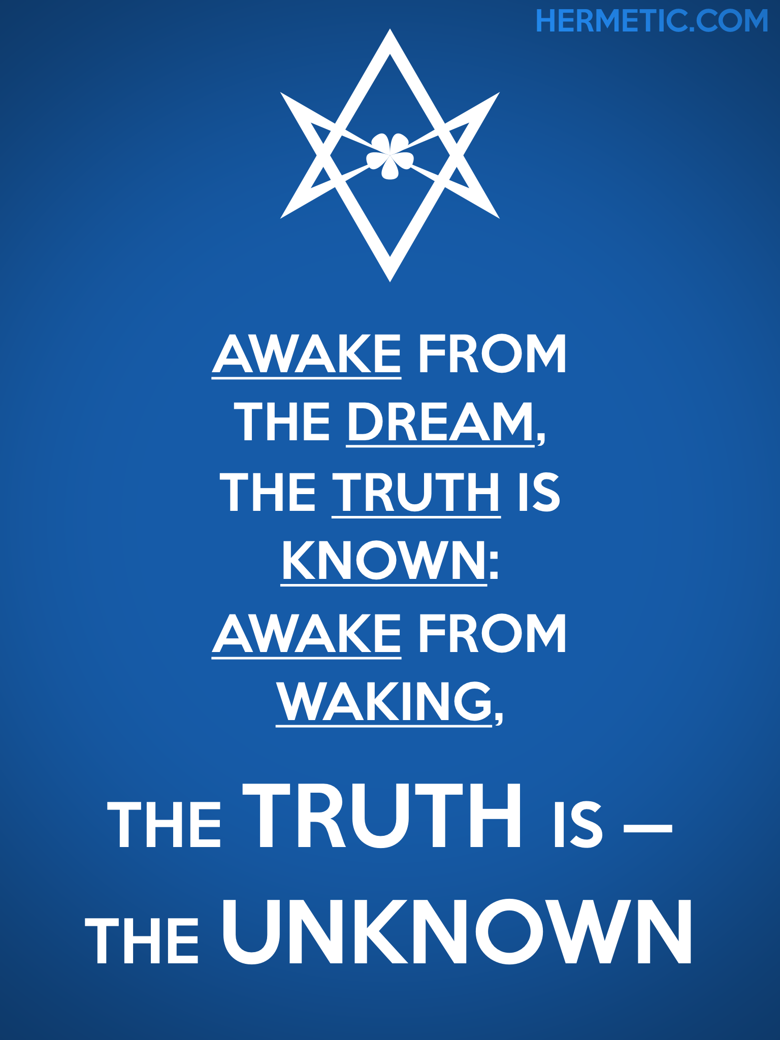 Unicursal THE TRUTH IS THE UNKNOWN Propaganda Poster from Hermetic Library Office of the Ministry of Information