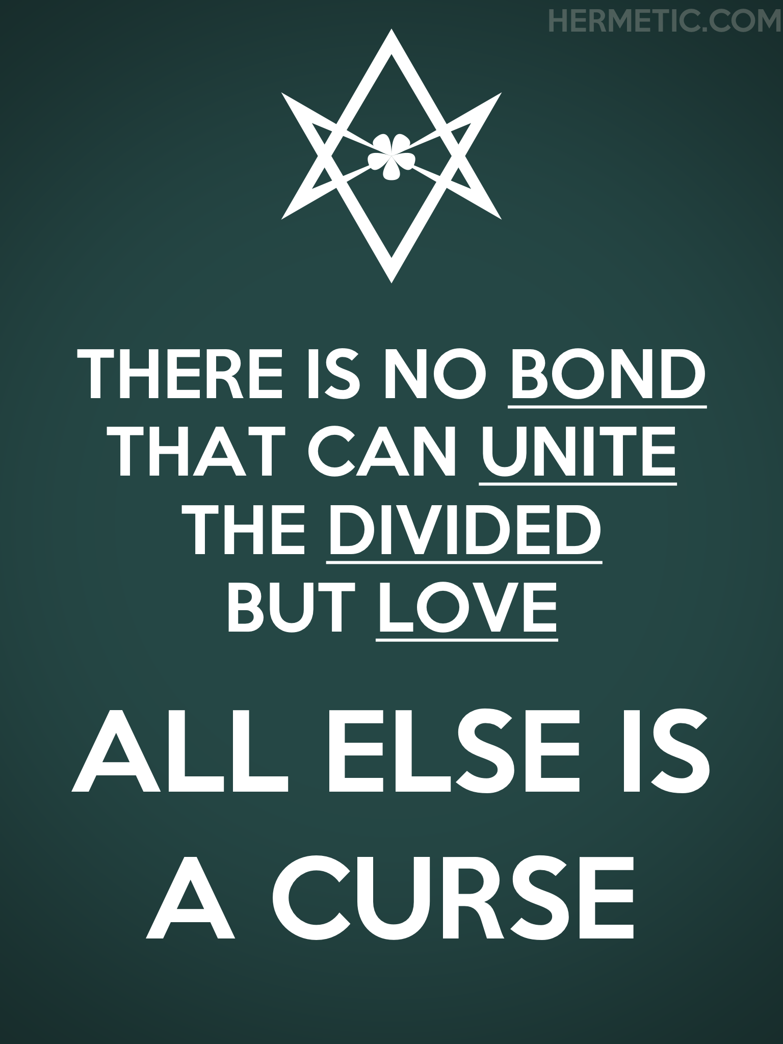Unicursal UNITE THE DIVIDED Propaganda Poster from Hermetic Library Office of the Ministry of Information